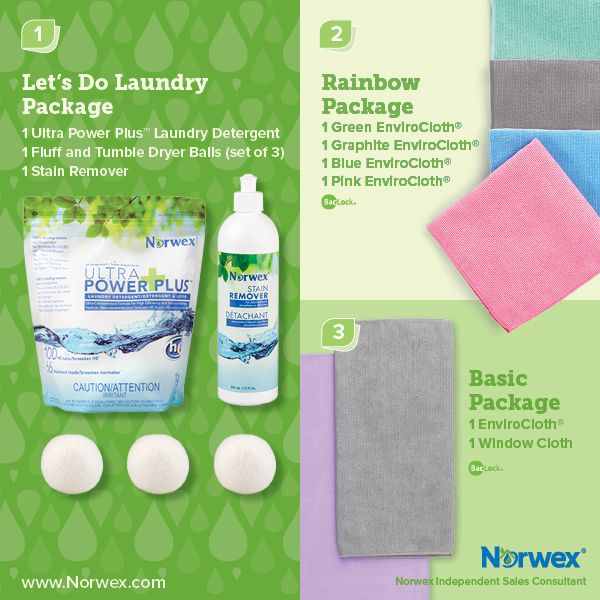 Norwex (1) Let's Do Laundry Package, (2) Rainbow Package, (3) Basic Package. For Facebook parties, online events and marketing.