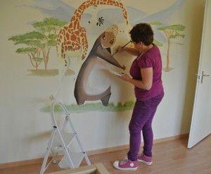 Madagascar babykamer kinderkamer muurschildering www.janetedensmuurschilderingen.nl