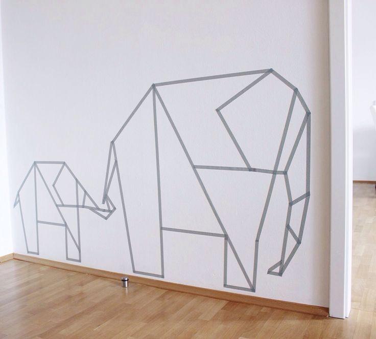 Washi Tape Wall Art Elephants. Tayce Annette Henderson