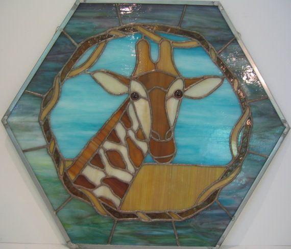Giraffe Hexagonal Stained Glass Panel