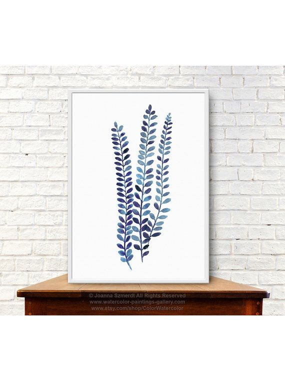 Indigo Fern Watercolor Painting. Fern Leaves Botanical Art Print Minimalist Illustration. Blue Alpine Water Fern Picture. Blechnum Penna-Marina Antarctic Hard-Fern. Type of paper: Prints up to (42x29,7cm) 11x16 inch size are printed on Archival Acid Free 270g/m2 White Watercolor Fine Art Paper and retains the look of original painting. Larger prints are printed on 200g/m2 White Semi-Glossy Poster Paper. Colors: Archival high-quality 10-cartridge Canon Lucia Pigment Inks with a dro...