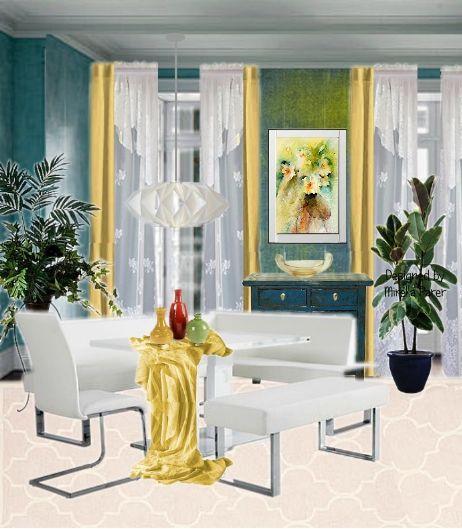 Romantico moderno collage virtuale di Mirella Parer (L'acquerello sulla parete è di Jean Haines)