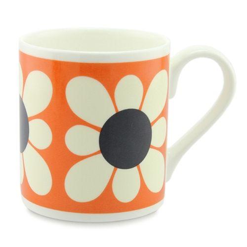 square daisy orange Mug Cup by Orla Kiely bone china
