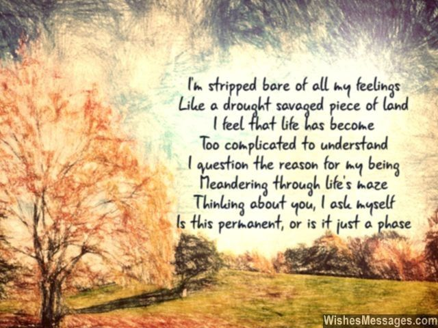 I'm stripped bare of all my feelings Just like a drought savaged piece of land I feel that life has become Too complicated to understand I question the reason for my being Meandering through life's maze Thinking about you, I ask myself Is this permanent, or is it just a phase... via WishesMessages.com
