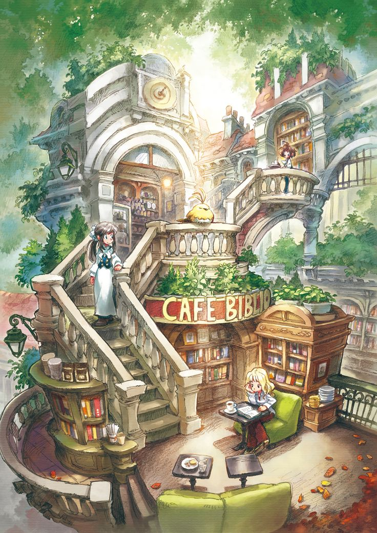 """""""Library cafe"""" by matsukitchi at DeviantArt.com; """"For Pixiv Festa vol.04 in Japan"""""""