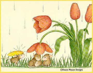 House Mouse by Artist Ellen Jareckie spring/rain/tulips....