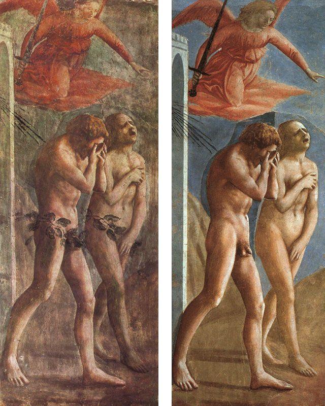 Brancacci Chapel - Florence. Мазаччо - Изгнание из Эдемского сада. До и после реставрационных работ.