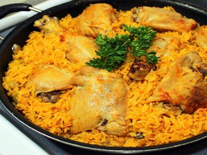 Puerto Rican Chicken and Rice aka Arroz Con Pollo... I really really want to make this. However, I would use Quorn Fake Chic'n instead of real chicken!