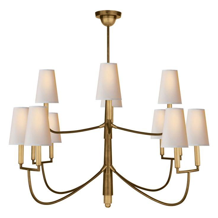 "Nicholas Haslam Cooper Chandelier - <p>Hand-rubbed antique brass chandelier</p><p>Shades shown are Tall Empire:</p><p>Base 5"" x Height 7"" x Top 3"" </p>"