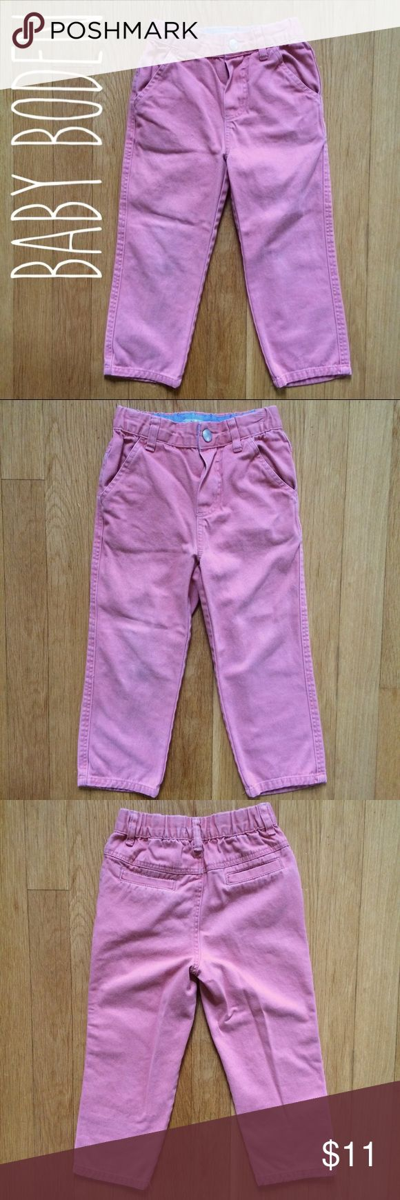 Mini Boden | Salmon Pants I'm the second owner of these. Initials on tag. Some wash wear and fading. Knees are worn a bit but not bad. 100% cotton. Dusty salmon color. NOT adjustable waist. Size is 2-3 years. Fit my tall/skinny son perfect around 2.5 years. Boden Bottoms Casual