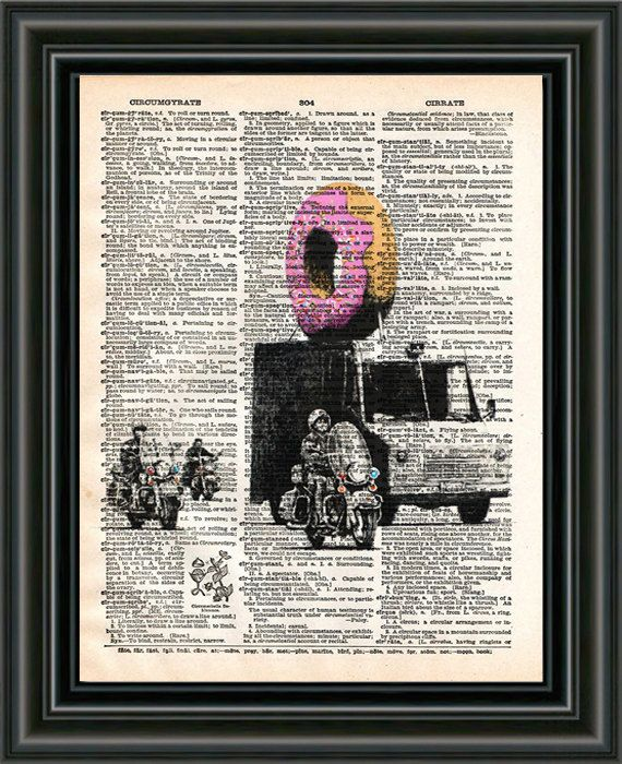 Banksy donut police banksy wall art dictionary art by Loft817, $7.99