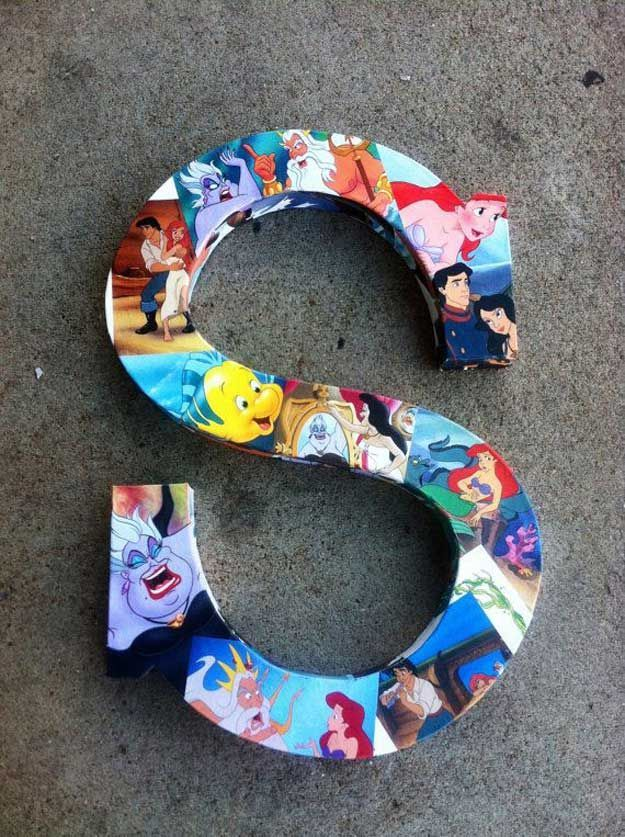 Disney Room Decor Inspiration and Ideas   Disney Decorated Wooden Letters by DIY Ready at http://diyready.com/15-diy-room-decor-ideas-for-teenage-girls-who-love-disney/