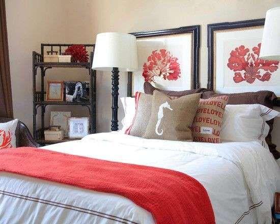 Camera da letto stile marina - Stile marina nelle nuances corallo