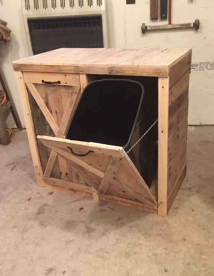 This is my new favorite bin for hiding trash and recycling. Dimensions 34x34x18. (can make it a different size if needed) *Contact us for shipping quote.: