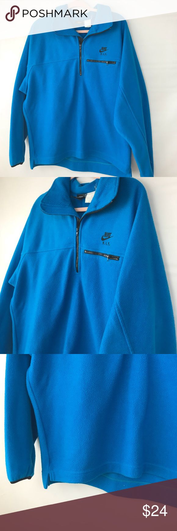 "NIKE FIT fleece Sweater Top Blue Mens Size Large Nike Fit Fleece Top Mens Size Large Blue  Pit to pit 25"" Length is 27"" Sleeve is 25"" Please note that this is a used item. Normal fade from wash and wear.  #N Nike Sweaters"