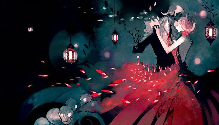 My heart is Dead but Still Red by NanoMortis on DeviantArt / lanterne / couple / couleur / danse / embrassade / lumière / ambiance