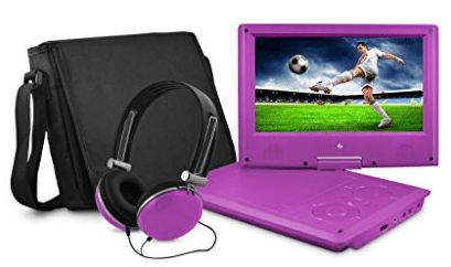 Ematic EPD909PR 9-Inch Swivel Purple Portable DVD Player with Headphones and Bag