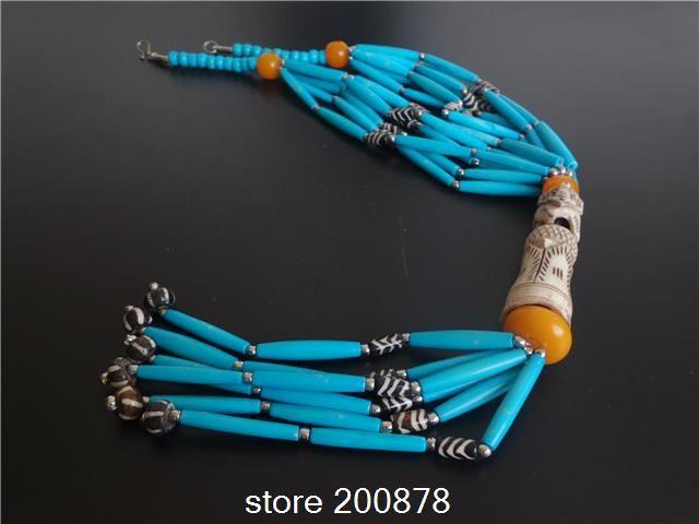 TNL580 Tibetan Blue Yak Bone Hand Carved 3D Elephant Necklace Tibet ethnic fashion Bohemian multi strand beaded Necklace