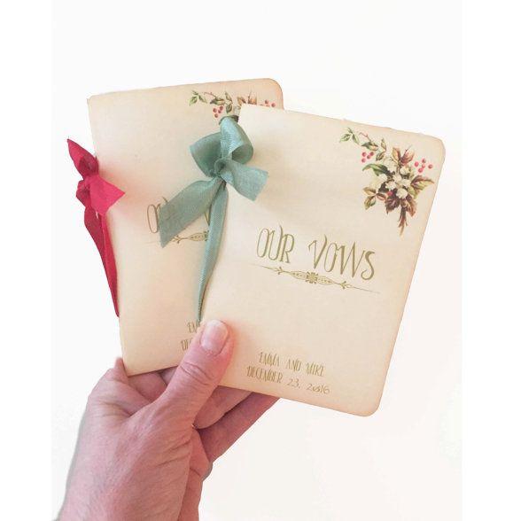 Christmas wedding Vow books - 35 Christmas Wedding Etsy Finds | Editor's Etsy Picks - KnotsVilla