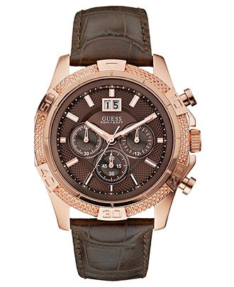 GUESS Watch, Men's Chronograph Brown Croco Grain Leather Strap 46mm U19502G1 - All Watches - Jewelry & Watches - Macy's