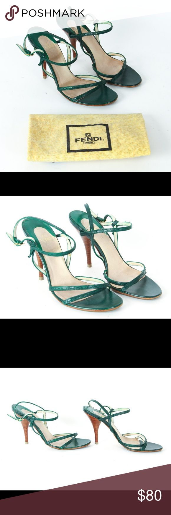 """AUTHENTIC FENDI green strappy heels AUTHENTIC FENDI green strappy heels. ~4"""" heels, made in Italy. Sexy dark green straps, adjustable at the ankle. New protective soles and heels put in. Pre-loved condition, signs of wear on insoles and discoloration on the inside of the straps, but still has lots of love left to give! Very sexy and seductive shoes! Comes with original FENDI dust bag. Europe size 37 = US size 7. Open to reasonable offers of bundle 2 for 15% off! Fendi Shoes Sandals"""