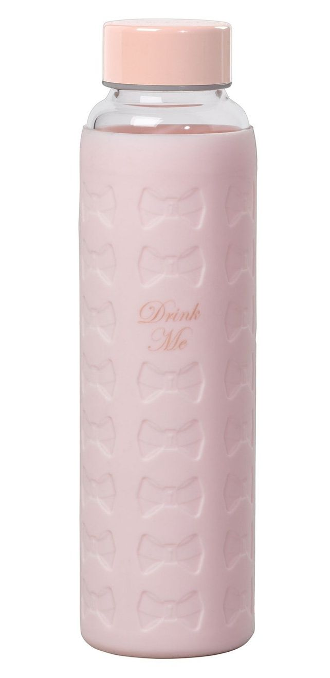 In love with this Ted Baker London glass water bottle with a pale pink silicone sleeve embossed with chic bows.