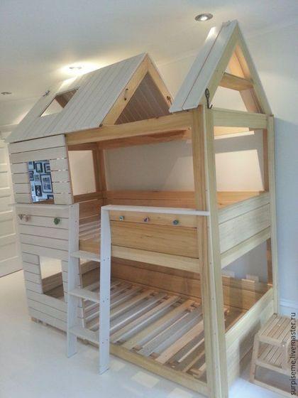 Мебель ручной работы. Двухъярусная кровать домик. Цех №6. Ярмарка Мастеров. Кровать детская, кровать для куклы, детская мебель
