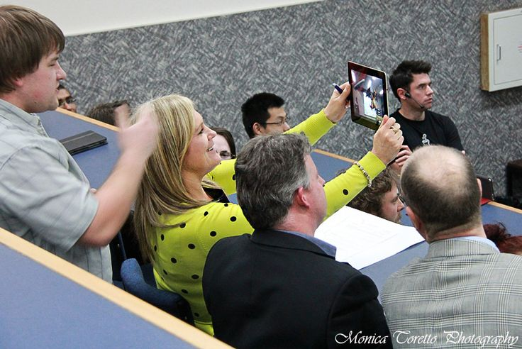 The judges having fun with the virtual dragon that was part of the presentation during the final night at Invercargill's Start Up Weekend. July 28, 2013.