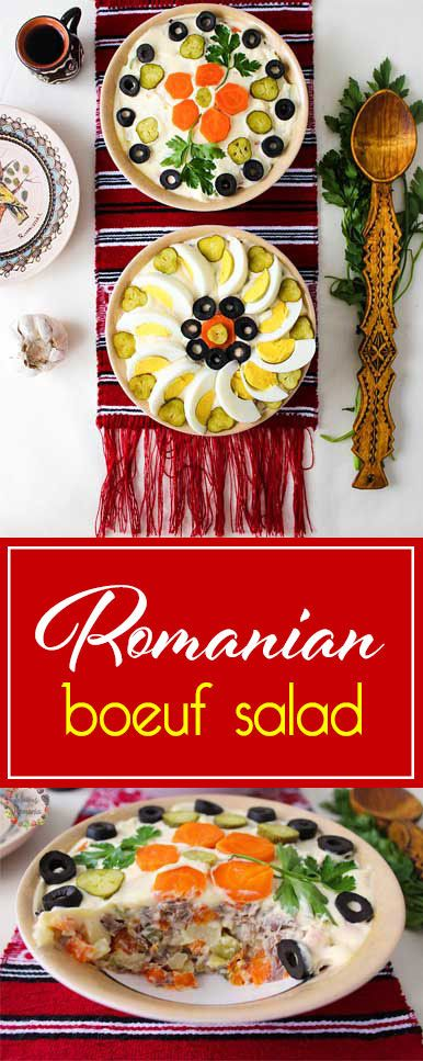 Boeuf salad consists of beef, boiled carrots and potatoes, pickles, all finely diced. Add mayonnaise and garnish with eggs, olives and anything else you like!