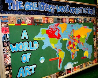 art classroom set up and bulletin boards