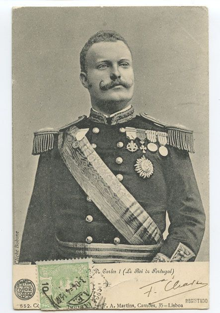 King Carlos I of Portugal in 1904.  He was the son of King Luis I of Portugal, House of Braganza, and Queen Maria Pia, a princess of Savoy.  He was a well educated and enlightened young king who was related to many of the royal Roman Catholic families throughout Europe.