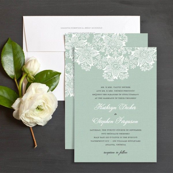 Mint wedding invitation..dont really like the pattern but I love the color