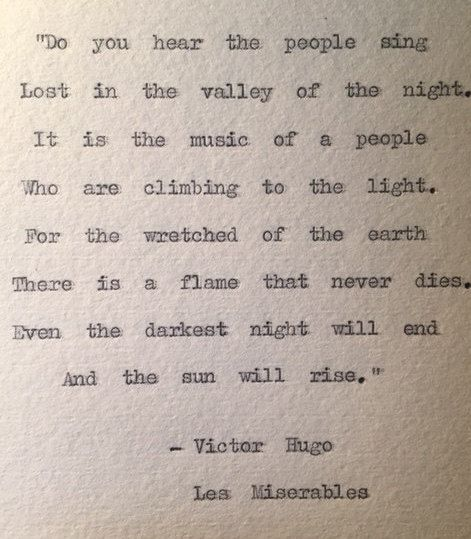 "Les Miserables Typewriter Quote ""even the darkest night will end"" by BookishGifts on Etsy"