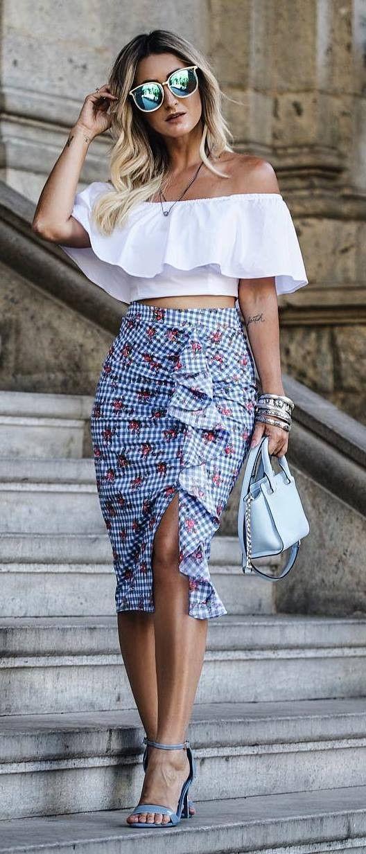 fashionable outfit off shoulder top + bag + heels + skirt