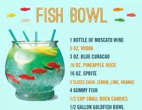Fishbowl! Alcohol recipe. Check out drinkupdt.com to see how you can get specials on these drinks and more in the Indianapolis area.