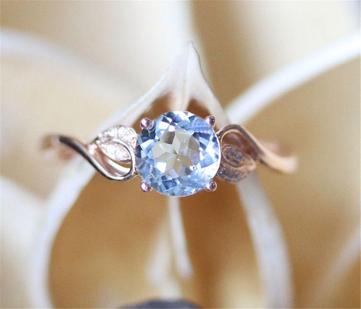 Vintage Aquamarine Engagment Ring,VS 7mm Round Cut Natural Aquamarine Ring,Unique Leaf Shape Ring Band,14K Rose Gold Ring,Gemstone Ring by LeRhin on Etsy https://www.etsy.com/listing/458347162/vintage-aquamarine-engagment-ringvs-7mm