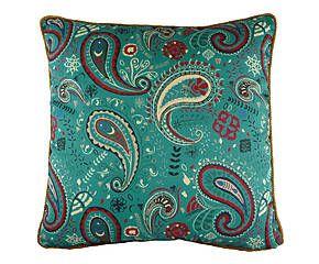 Cuscino arredo misto cotone Paisley verde mare - 43x43 cm
