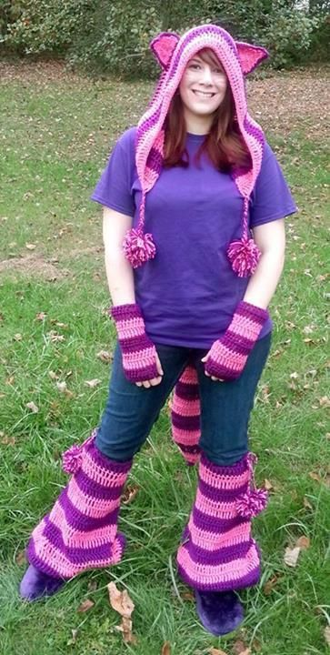 """From fan Jessica Yoak: """"Crochet Cheshire cat costume made with Red Heart super saver yarn!"""""""