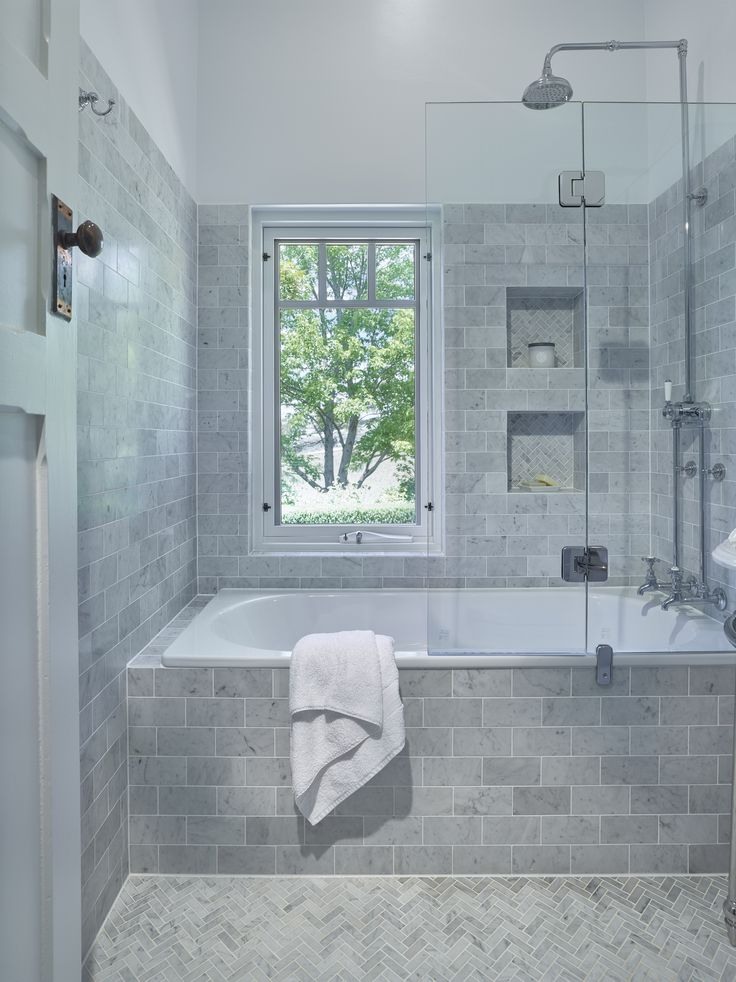 Traditional bathroom lovely inset bath with a shower combo handy niche to keep all your bath - Nice subway tile bathroom designs with tips ...