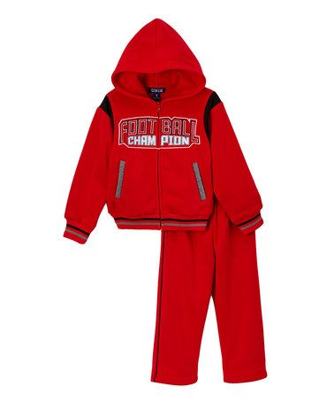 Red 'Champion' Hoodie & Sweatpants - Infant, Toddler & Boys #zulily #zulilyfinds