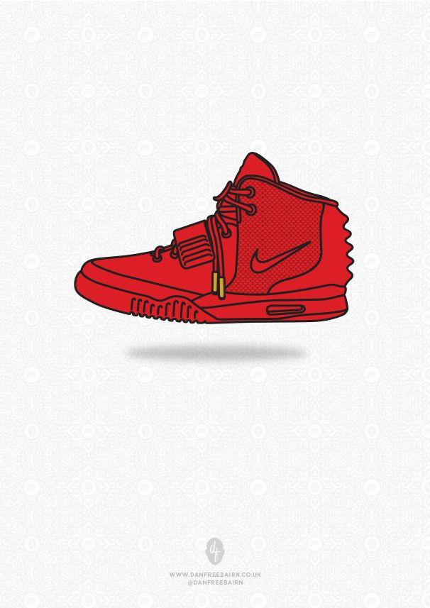 "Air Yeezy ""Red October"" Illustration by DanFreebairn.co.uk @Dan Uyemura Freebairn"