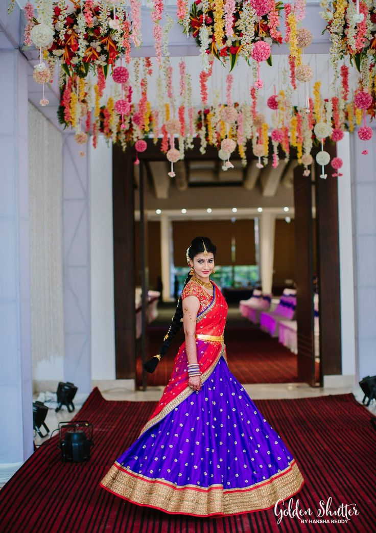 Contrasting Blue and Red Half Saree