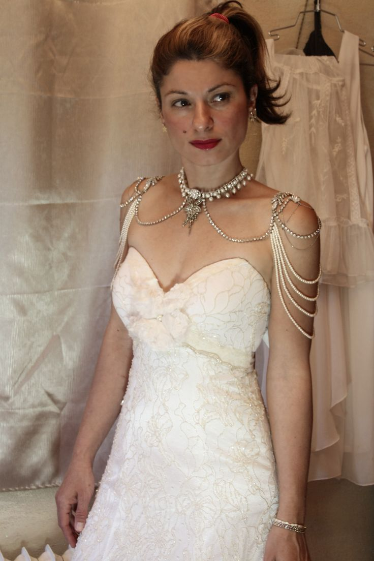 Vintage pearl bridal blog real brides news amp updates wedding - Bridal Necklace For The Shoulders Pearl And Rhinestone 1920s Jewellry Bridal Epaulettes Vintage Wedding Gastby Necklace Backdrop Necklace