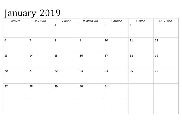 Calendar January 2019 With Notes Printable Calendar January 2019