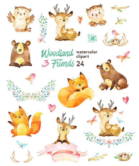 Woodland Friends 3. Watercolor animals clipart, fox, forest, deer, bear, owl, bird, butterfly, greet