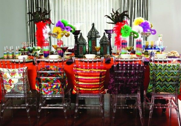 Wild Purim table setting. I saw the metal lanterns on sale at World Market, cheaper than Pier One.