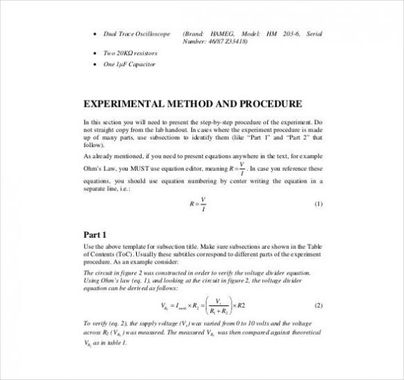 Engineering Lab Report Template Lab Report Template Lab Report Report Template