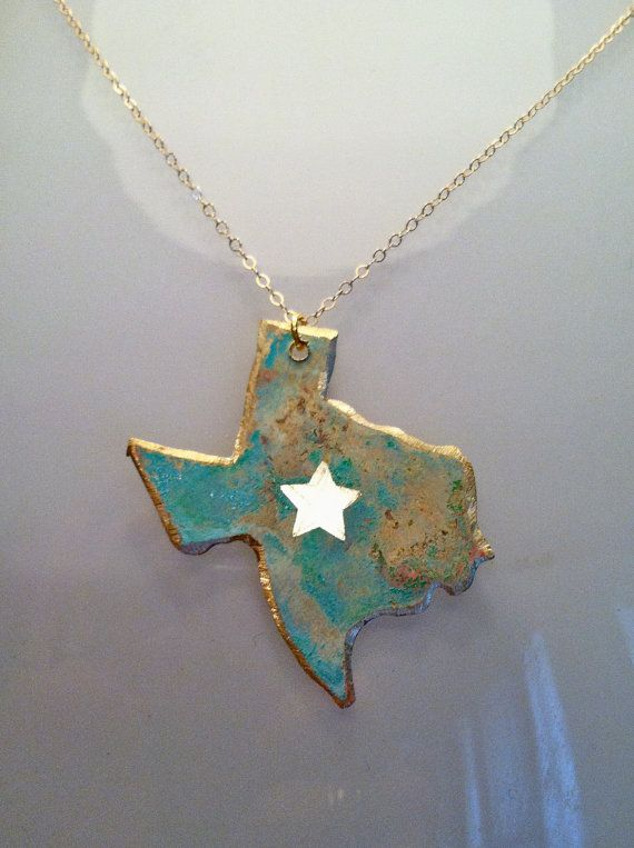 Handcrafted Brass Lone Star Texas Necklace - $40 @ Etsy