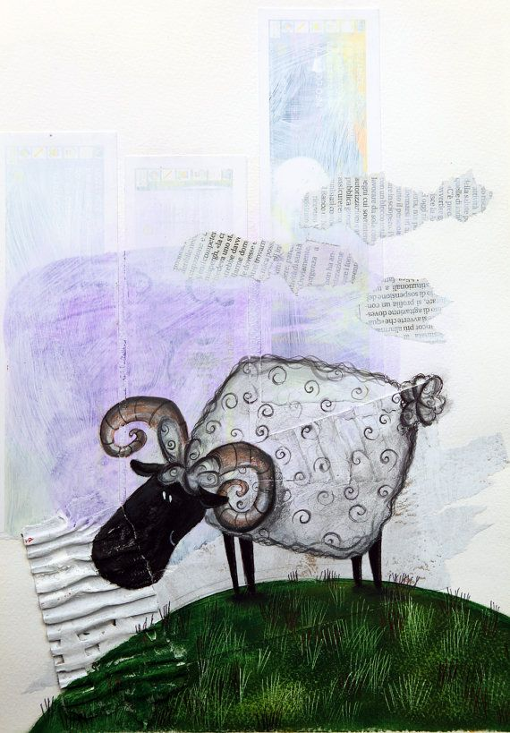 sheep illustration Animal painting art for by ariannapiazzafineart, $85.00