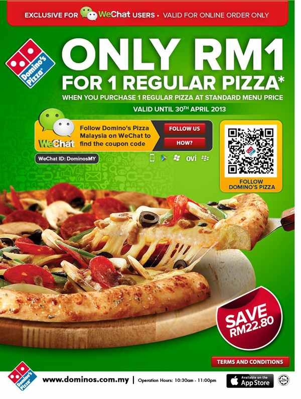 Domino's Pizza RM1 Pizza Promotion (Promotion Period: until 30 April 2013)  http://www.mudah.co/dominos-pizza-rm1-regular-pizza-promotion/2175/